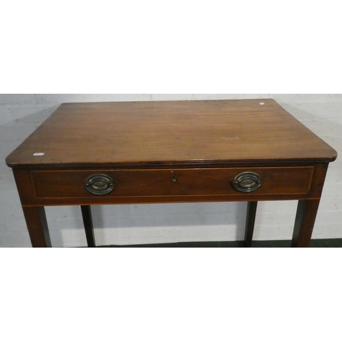 20 - An Edwardian Mahogany Side Table with Single Long Drawer on Square Tapering Supports, 80.50cm Wide...