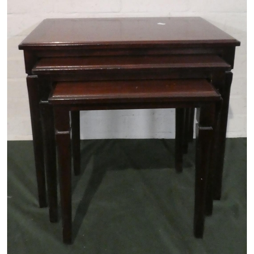 21 - A Modern Nest of Three Mahogany Tables, The Largest 53.5cm Wide...