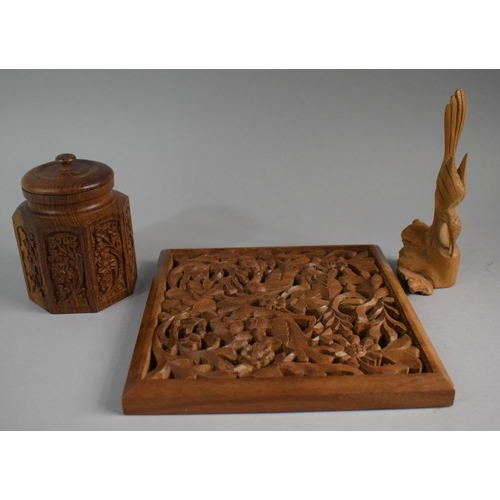 26 - A Carved Oriental Octagonal Tea Caddy, Pierced Wall Hanging Decorated with Birds and a Root Carving ...