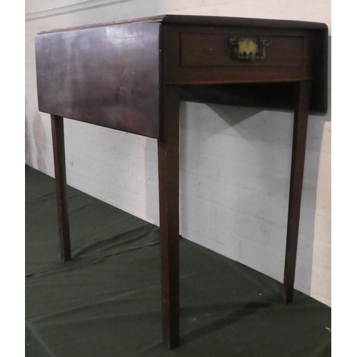 28 - A 19th Century Mahogany Drop Leaf Occasional Table with Single Drawer Having Brass Drop Handles, 69c...