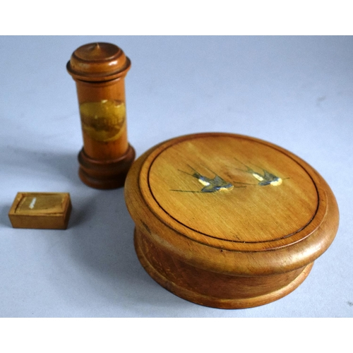 3 - A Cylindrical Mauchline Ware Needle Case for Clare College Cambridge, a Treen Roulette Wheel with Li...