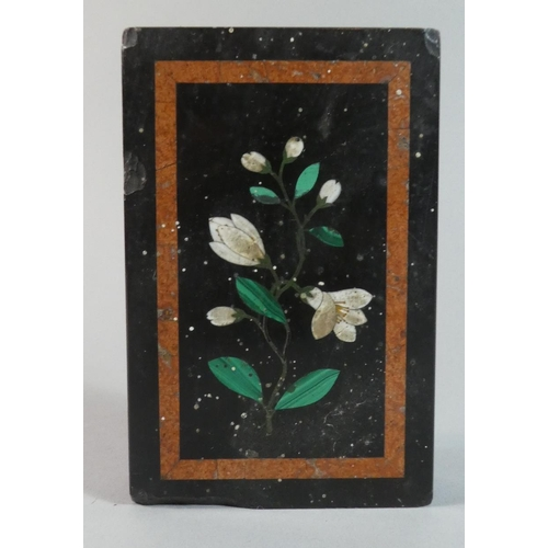 4 - A Rectangular Pietra Dura Desktop Paperweight Decorated with Flowers, Some Chips to Rim, 13.5cm x 8....