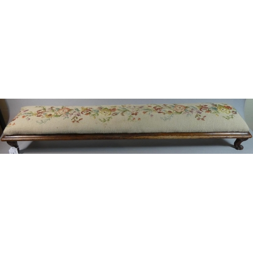 40 - A Late 19th/Early 20th Century Tapestry Topped Double Prayer Kneeler on Four Scrolled Feet, 107.5cm ...