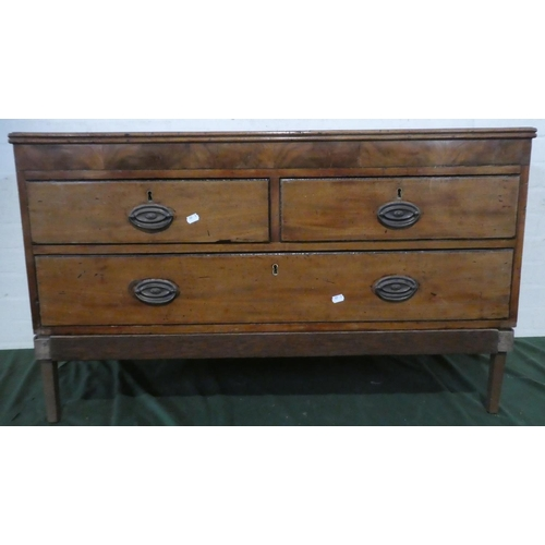 42 - A 19th Century Crossbanded Mahogany Chest of Two Short and One Long Drawers on Later Stand, 105cm Wi...
