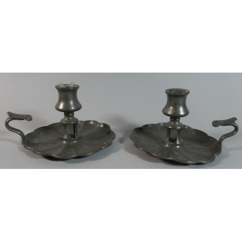 45 - A Pair of Pewter Bedchamber Sticks by James Dixon & Sons...