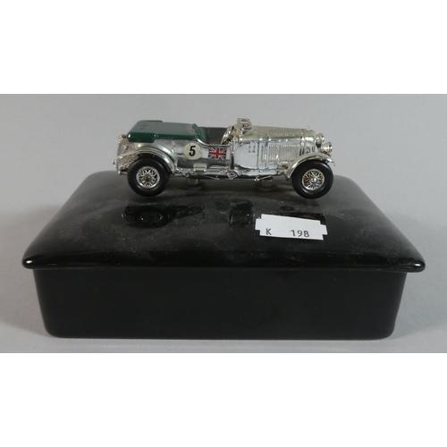 5 - A Black Ceramic Desk Top Box with Vintage Bentley Racing Car Mount, 14cm Long...