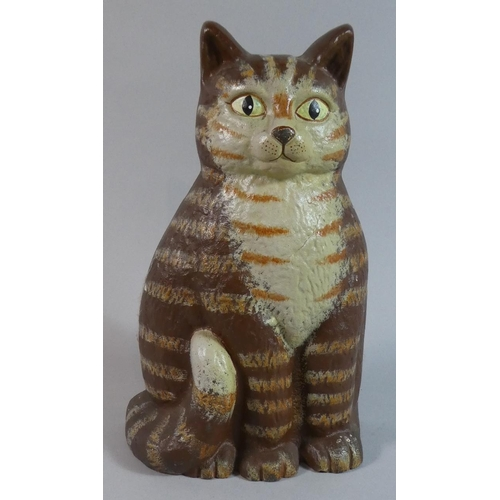 52 - A Modern Hand Painted Cast Iron Door Stop in the Form of a Seated Cat, 23cm high...