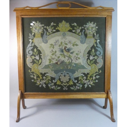 60 - A Large Oak Framed Edwardian Tapestry Fire Screen, 82cm Wide...