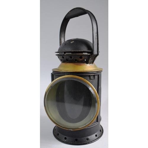 1 - A Vintage Brass Mounted British Rail (Western) Railway Lamp, 31cm High. Missing Burner...