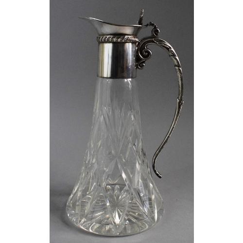 9 - An Edwardian Royal Brierley Braemar Cut  Mounted Glass Claret Jug with Silver Plate, 27cm High....