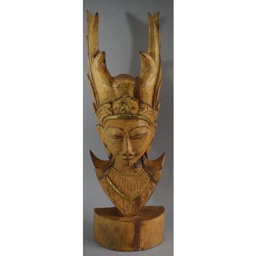 32 - A Large Carved Wooden Thai Mask, 66.5cm high...