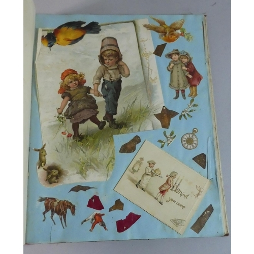 54 - A Late Victorian Scrap Book Containing Decoupage, Greetings Cards, Coloured Prints etc...
