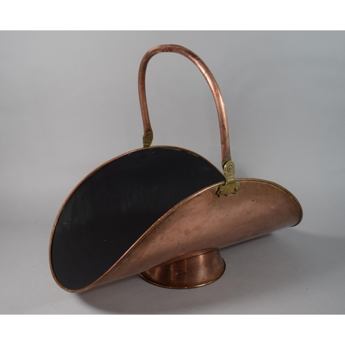 57 - A Late 19th Century Copper Log Basket with Repainted Well, 55.5cms Wide...