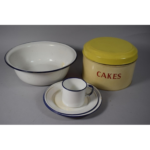 56 - A Vintage 'Jala' Cake Tin Together with a Collection of Enamelled Wares...