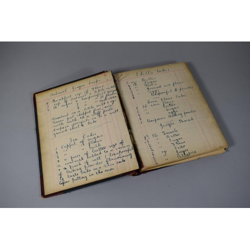 17 - A Leather Bound Book Containing a Number of Hand Written Recipes, Notes Etc. Also Featuring Pencil S...