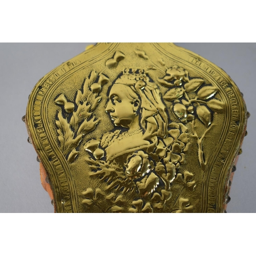 14 - A Pair of Commemorative, Brass Mounted Victorian Bellows with Embossed Decoration, Portrait of Queen...