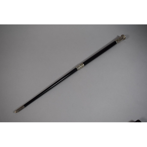 13 - A Cased Silver Mounted Conductors Baton, H.M. London 1922 - Makers Mark Worn, 45cms Long...