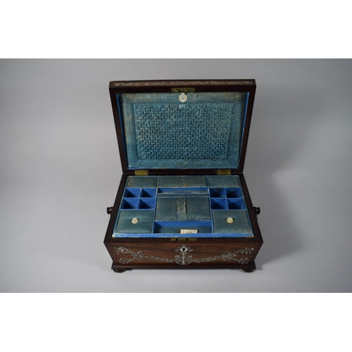 1 - A 19th Century Rosewood and Mother of Pearl Sarcophagus Shaped Workbox with Ring Carrying Handles on...