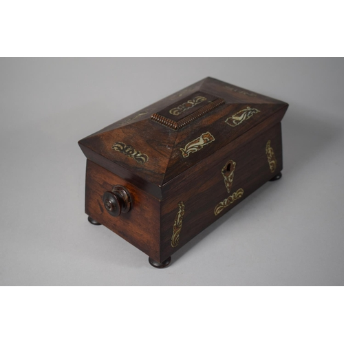 2 - A 19th Century Rosewood and Mother of Pearl Inlaid Sarcophagus Shaped Tea Caddy with Two Division In...