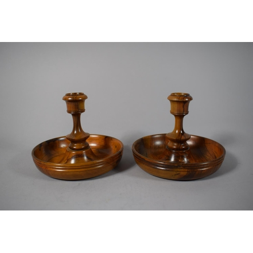 8 - A Pair of Olive Wood Brighton Bun Travelling Candlesticks, 12cms Diameter...