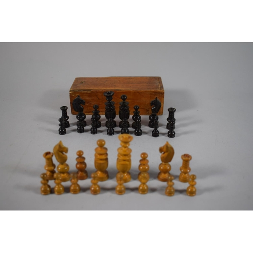 9 - A Small Wooden Chess Set in Box, King 5.5cms, Complete...