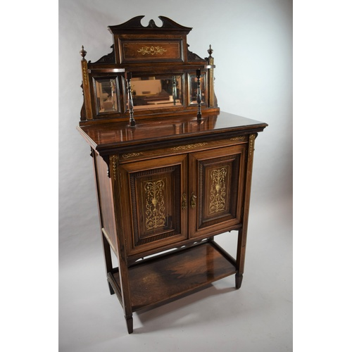 23 - A Late Victorian Edwardian Ivory Inlaid Rosewood Chiffonier Cabinet with Panelled Doors to Centre Cu...