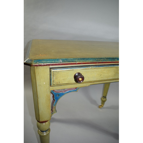 20 - A Late 19th Century / Early 20th Century Painted Pine Side Table with Single Drawer and Pierced Moul...