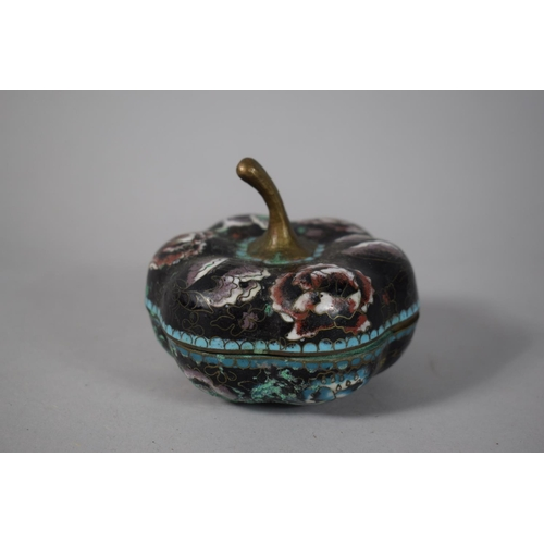 47 - A Chinese Cloisonne Lidded Pot in the Form of a Squat Gourd, 9cm High...
