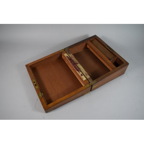 6 - A Late 19th Century Mahogany & Brass Mounted Writing Slope (for Restoration), Missing Slope but Inkw...