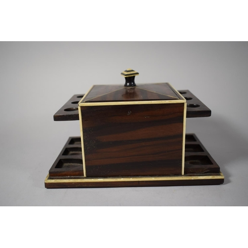 3 - A Good Continental Art Deco Coromandel Tobacco Box with Side Holders For Six Pipes, 23cms Wide...