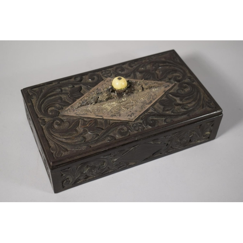 26 - A 19th Century Rectangular Carved Wooden Box, Hanging Silver Escutcheon and Handle in the Form of Dr...