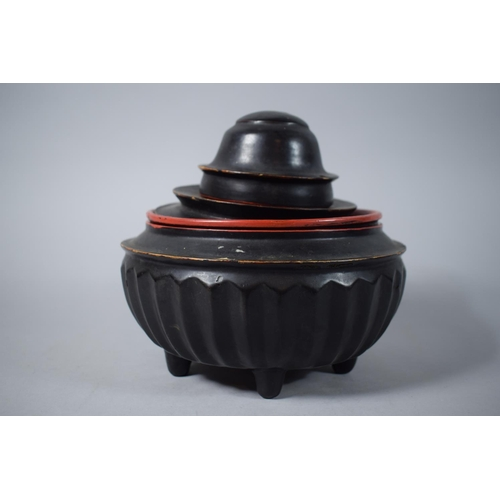 40 - An Early Oriental (Possibly Burmese) Circular Lacquer Lidded Food Box, with Removable Inner Tray and...