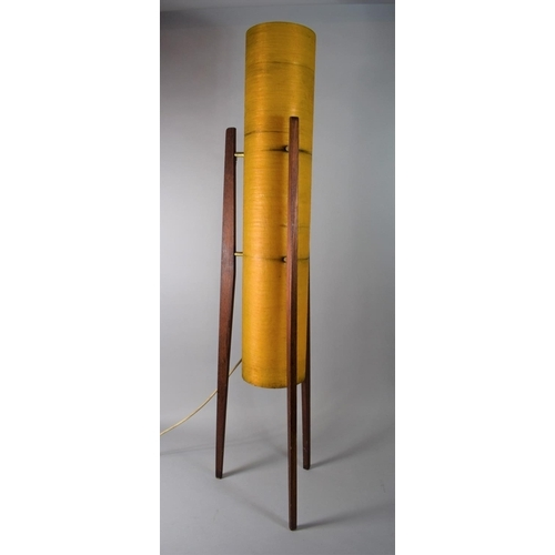 22 - A 1970's Rocket Floor Lamp with Cylindrical Fibreglass Shade Raised on Teak Triform Stand, 112cms Hi...