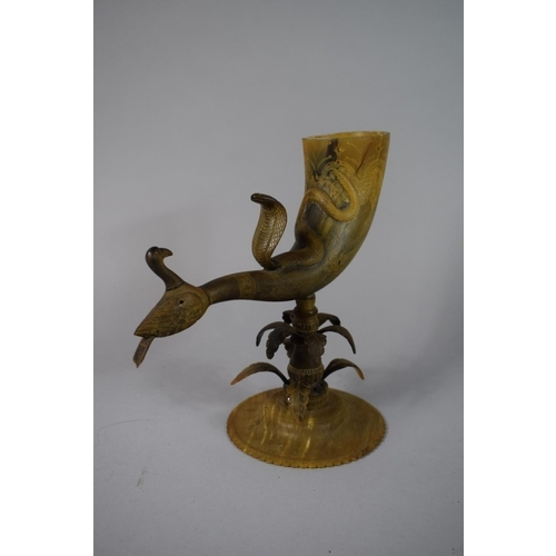 42 - An Indian Horn Offering Beaker Vessel with Snake/Cobra & Bird Design, 25cms High...