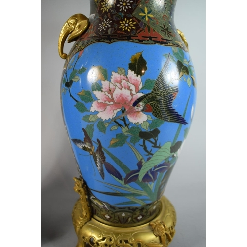 49 - An Exceptional Pair of Cloisonne and Ormolu Mounted Table Lamps in the Barbedienne Manner, the Bodie...
