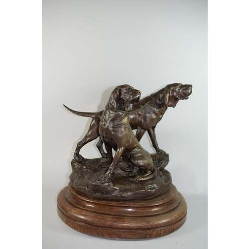 51 - Leon Bureau (French 1866 - 1906), A Good Bronze Group Depicting Two Coupled Blood Hounds, 'Menelas A...
