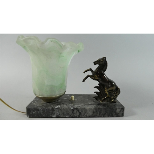 34 - A French Table Lamp with Rearing Horse Mount, Opaque Glass Shade and Marble Plinth, 19.5cms Wide...