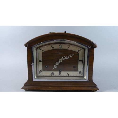 18 - A Walut Art Deco Westminster Chime Mantel Clock Inscribed for Fraser, Ferguson & Macbean, Inverness,...