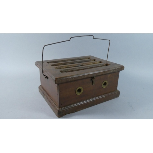 7 - A Victorian Mahogany Wooden Carriage Foot Warmer with Pieced Hinged Lid to Metal Lined Interior, 27c...