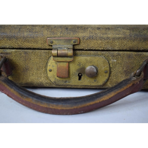 36 - A Vintage Canvas Shotgun Case with Leather Straps and Carrying Handle (In Need of Attention) 76cms W...