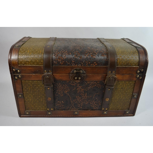 30 - A Modern Storage Box in the Form of a Miniature Cane and Leather Travelling Trunk, 52cms Wide...