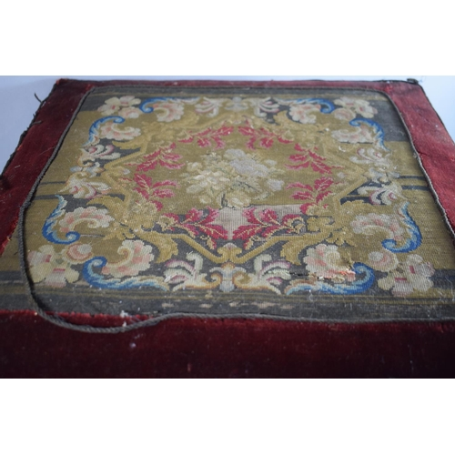 25 - A 19th Century Mahogany X Framed Tapestry Topped Stool, 44cms Square, One Leg Glued...