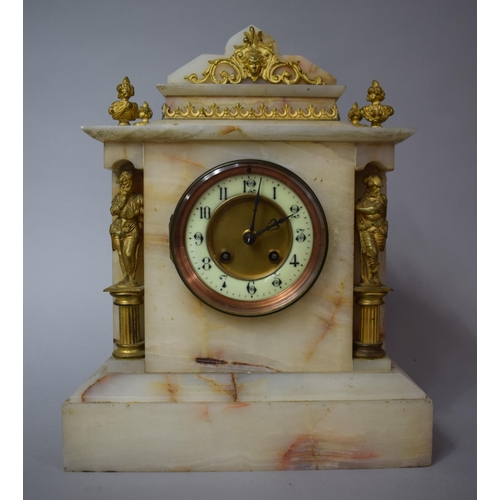 21 - A French Late 19th/Early 20th Century Alabaster Mantel Clock of Architectural Form with Ormolu Mount...