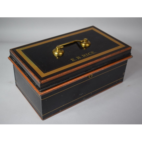12 - A Toleware Deed Box by Holmes and Son, Inscribed to Top E.B. Rice, 36cms Wide...