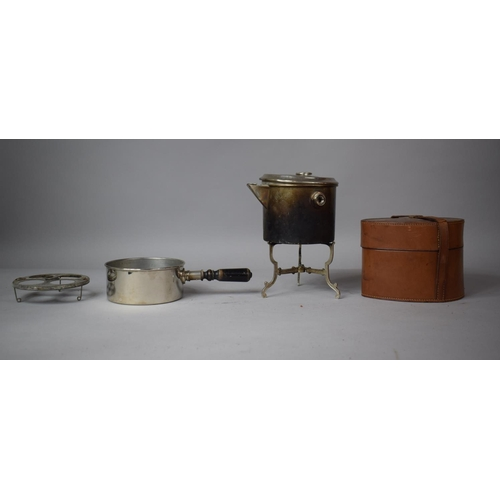 9 - An Early 20th Century French Leather Cased Travel Breakfast/Picnic Set Complete with Pan, Kettle, St...