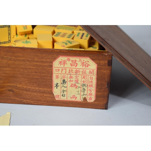 5 - A Vintage Mah Jong Game in Original Teak Box with Paper Label, 20cms Wide - 148 tiles...