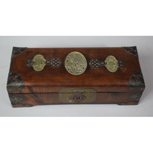4 - An Oriental Brass Banded and Jadeite Inlaid Teak Rectangular Jewellery Box with Fitted Interior, 25c...