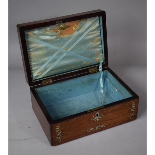 3 - A 19th Century Rosewood Workbox with Mother of Pearl Inlay, Missing Removable Tray and in Need of Re...