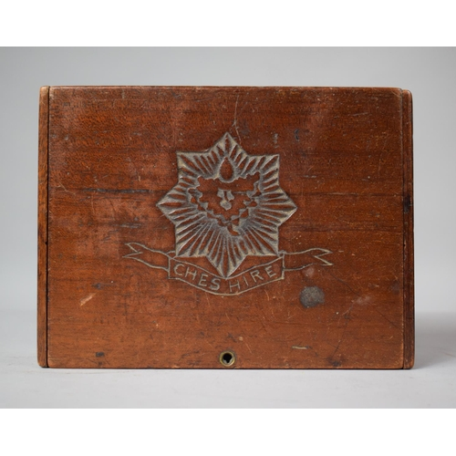 2 - An Early 20th Century Stained Pine Folk Art Box with Carved Work Decoration Inscribed 'Cheshire', 19...