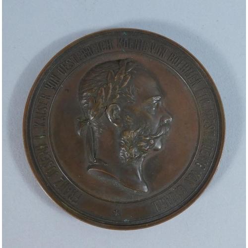 43 - A Bronze Austrian Medallion Dated 1878, Franz Joseph Kaiser Von Oesterreich...